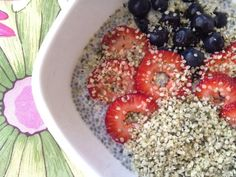 Chia pudding with berries & hemp hearts:      1 cup unsweetened [soy] milk      3 tbsps of chia seeds      Stevia      3 tbsp of hemp hearts      Handful of strawberries & blueberries  1. Soak chia seeds in milk for at least 20 minutes or overnight. You can sweeten it with stevia right before serving.  2. Slice strawberries, place on top along with blueberries. Berries are a good source of antioxidants but you can use any fruits you like.  3. Sprinkle hemp hearts on top