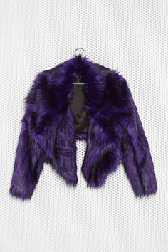Here's another faux #furcoat idea to keep you warm on those cold #rave nights. #Brightcolor, fluffy feel, all around wins. #purple  Gunner #FauxFur Jacket: Nasty Cal & M.A.C, $118, Buy it Here