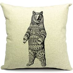 Gray+Bear+Cotton/Linen+Decorative+Pillow+Cover+-+DKK+kr.+93