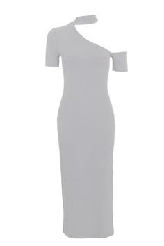 4c5066352f48 Assymetric Neck Choker Dress - Dresses - Clothing
