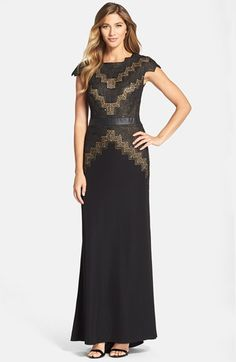 Tadashi Shoji Cap Sleeve Lace & Crepe Gown available at #Nordstrom