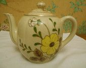 Vintage Cream Colored, Floral Teapot- Made In Japan