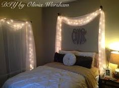 Image result for tutorial string lights behind fabric headboards