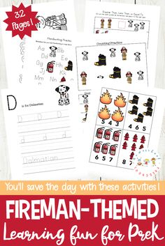 Talk about fire safety and community helpers with this printable pack about firemen. These firefighter printables feature early math and literacy activities. Preschool Learning Activities, Free Preschool, Preschool Education, Teaching Kindergarten, Preschool Printables, Preschool Crafts, Preschool Ideas, Preschool Curriculum, Preschool Classroom