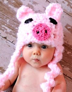 Darling baby girl with pink piggy crochet knit hat Toni Kami ~•❤• Bébé •❤•~ Precious Newborn Photography