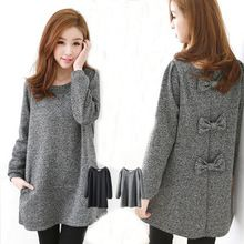 Woman Sweater Winter 2015 Korean Casual Bow Long Sleeve Knitted Long Sweater Knitwear Black Gray Plus Size S-3XL sweter mujer D2(China (Mainland))