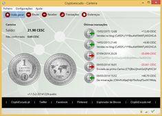 Écran geral da carteira desktop do CryptoEscudo - versão de 29 de dezembro de 2014 #tecnologia #internet Pode fazer o download da sua carteira em www.cryptoescudo.pt