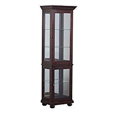 Powell Chadwick Collection 15A7035 22″ Small Curio with Mirrored Back Three Glass Shelves Bun Feet and Recessed Lighting in