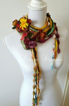 - SOLD - 'Autumn Walks' Art Yarn Scarf by Deidre Dreams