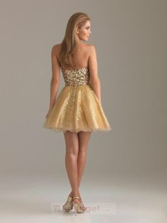Charming A-line Sweetheart Short / Mini Organza Sequined Yellow Homecoming Dresses $114.99 - Trendget.com