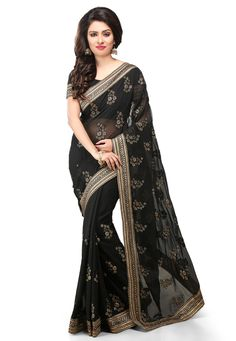 Buy Black Faux Chiffon Saree with Blouse online, work: Embroidered, color: Black, usage: Party, category: Sarees, fabric: Chiffon, price: $110.15, item code: SUF5445, gender: women, brand: Utsav