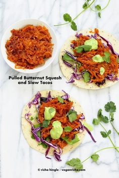 "MADE IT - Pulled Butternut Squash Tacos. Used chipotle sauce and a cilantro ""crema"" made from greek yogurt. Best Tacos ever! Mexican Food Recipes, Whole Food Recipes, Vegetarian Recipes, Cooking Recipes, Healthy Recipes, Detox Recipes, Quesadillas, Entree Vegan, Tofu"