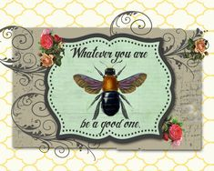 Canvas Print Collage Print Collage Art Canvas by AndreaMDesigns Quote Collage, Collage Art, Digital Collage, Digital Art, Bee Illustration, Bee Art, Insect Art, Art Prints Quotes, Whimsical Art