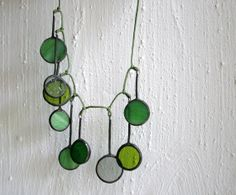 Unique handcrafted necklace, green clear gray stained glass, statement necklace on Etsy, $38.00