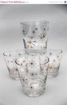 I'm a sucker for anything with a star pattern- Mid Century Modern glass ware atomic 3 cups