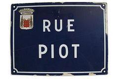 French Enameled Avignon Street Sign