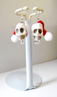 Christmas Earrings Santa Skull Red White Day Of by sweetie2sweetie