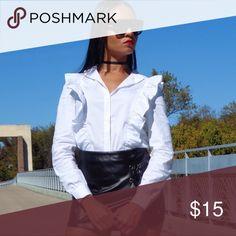 White Ruffled Blouse Buttoned collar white blouse 100% cotton Fashion Nova Tops Blouses