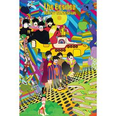 Beatles Yellow Submarine Collage Poster... This would work over the food, to tie everything together.