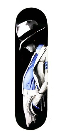 Kris Abigail Atienza Hit Man - 2014 Mixed media on skateboard deck 20 x 80 cm Michael Jackson Art, Best Clips, August 2014, Exhibit, Skateboard, Contemporary Art, Mixed Media, Deck, Australia