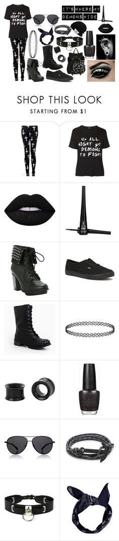 """It's where my demons hide"" by abipatterson ❤ liked on Polyvore featuring Topshop, Lime Crime, ZuZu Luxe, Vans, DailyLook, OPI, The Row, MIANSAI and Zana Bayne"