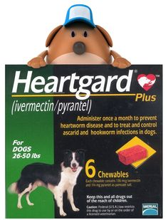 Generic Heartgard for Dogs, a cheap way to protect against heartworm disease. See http://www.tatochip.com/generic-heartgard-plus-chewables-for-dogs for TatoChip's recommended supplier.