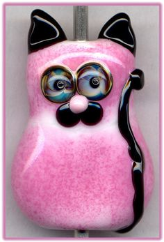 Pink Kitty Cat ~Leila~ Focal Handmade Glass Lampwork Bead Handmade SRA W79 :) ♥♥♥