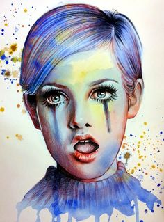 Kai Fine Art is an art website, shows painting and illustration works all over the world. Twiggy, Fashion Design Sketchbook, Poster Prints, Art Prints, Posters, Face Art, Light In The Dark, Amazing Art, Illustration Art