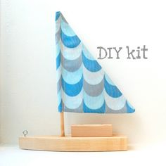 Diy Toy Sailboat With Blue Waves Sail