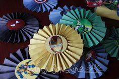 Superhero Birthday Party - pinwheel decorations