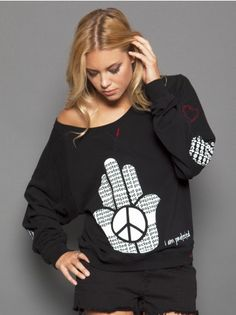 Peace Love World - I am Protected Black Oversized Raglan with Patches Peace Love World, Hoodies, Sweatshirts, Cool Girl, Your Style, Graphic Sweatshirt, Comfy, Stylish, Sweaters