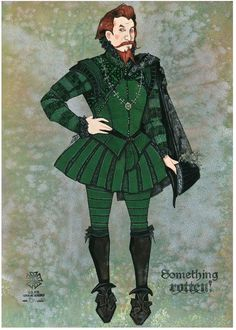 """Something Rotten"" - Lord Clapham Costume Sketch, Gregg Barnes - Broadway Design Exchange Medieval Fashion, Medieval Clothing, Historical Clothing, Broadway Costumes, Theatre Costumes, Musical Theatre, Greg Barnes, Authentic Costumes, Costume Design Sketch"