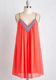Glad to Cheer It Dress. If good news travels fast, then word of this coral-pink dress will spread like lightning! #coral #modcloth