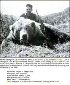 WORLD RECORD GRIZZLY BEAR = Just Another Reason to Carry A BIG GUN in the Woods ! Nothing Smaller than 44 Magnum Pistol for Large Game like Bear ! A minimum of .338 Win Mag for a Rifle If I knew I was gonna come across a big boy like this I think I would want the Smith and Wesson 500 Magnum Pistol or a Marlin 45/70 Govt Cal Rifle ! Don't even think of wondering around in Bear Country Without One!