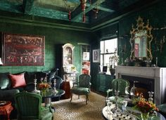 leopard-rug-gold-rug-living-room-green-Hutton-Wilkinson-veranda-november-december-2014