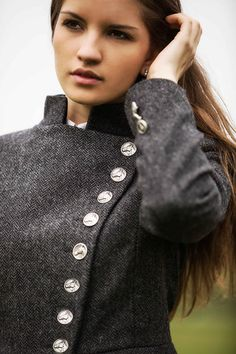 Great Scot Lieutenant Jacket Charcoal Tweed - Love the Buttons
