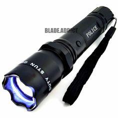 Metal POLICE Stun Gun 48 Million Volt Rechargeable LED Flashlight + Taser Case #JTAC