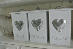 Kitchen Canisters, Kitchen Storage, Kitchenware, Tea Coffee Sugar Jars, Shabby Chic Boutique, Kitchen Prices, Household Items, Projects To Try, Heart