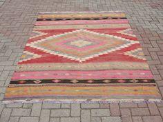 "VINTAGE Turkish Kilim Rug Carpet, Handwoven Kilim Rug,Antique Kilim Rug,Antalya Kilim,  68.5"" x 92"" (174 x 234CM)"