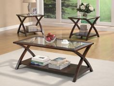 """3 Pc Occational Table Set CS701527 ng> Description : Adorn your living room in casual style with this attractive occasional group. The three-piece set features a coffee table and pair of end tables with beveled glass inserts as well as a rich cappuccino finish. The """"X""""-designed frames and lower shelves also add character to the pieces. There will be plenty to get excited about with this alluring occasional group in your home. Features : Style :  Transitional  Dimensions : Coffee Table…"""