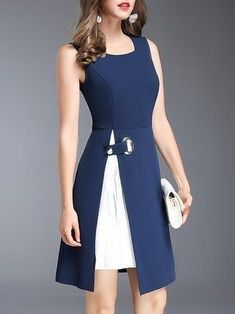 Solid Navy Blue Sleeveless Crew Neck Solid Midi Dress - Everything you are looking Dress Outfits, Casual Dresses, Short Dresses, Fashion Dresses, Dresses For Work, Work Outfits, Summer Outfits, Elegant Dresses, Classy Dress