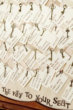 Key place cards  http://rusticweddingchic.com/new-jersey-vintage-rustic-wedding
