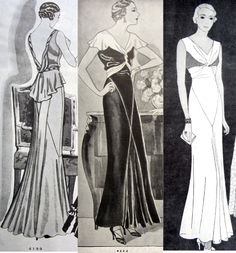 Butterick patterns 4199 (1931,) 4222 (1931,) and 4587 (1932) show the twisted fabrics pioneered by Vionnet