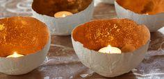 Schalen aus Gipsbinden, Luftballon und Blattgold