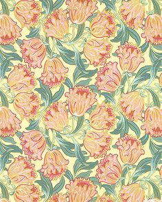 Art Nouveau - William Morris Tulips - Butter Yellow Textures Patterns, Print Patterns, Design Patterns, William Morris Patterns, Art Nouveau Pattern, Arts And Crafts Movement, Yellow Background, Fabric Paper, E Bay
