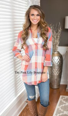 d2bc4166ddd51 Denim Delight Oversized Plaid Tunic - The Pink Lily Boutique Túnica Xadrez