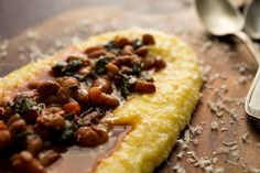Anson Mills Polenta or Grits With Beans and Chard Recipe - NYT Cooking Polenta Recipes, Chard Recipes, Bean Recipes, Healthy Recipes, How To Cook Polenta, Creamy Polenta, Bean Stew, Le Diner, Dried Beans