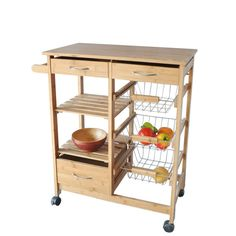Kitchen Island Cart Storage Shelf Drawer Rolling Stand Table Wood Furniture  #JAMarketing