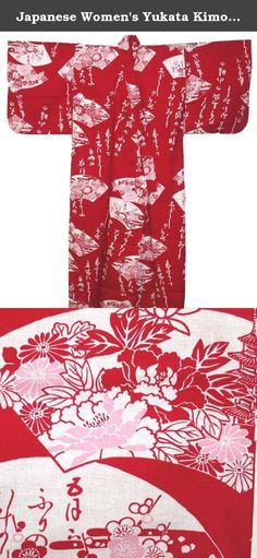 Japanese Women's Yukata Kimono Robe Fan Red 58in Size L. The yukata is a casual form of kimono that is also frequently worn after bathing at traditional Japanese inns. Though their use is not limited to after-bath wear, yukata literally means bath(ing) clothes. In Japan, the traditional Japanese Yukata are widely used for everything from dances, casual clothing in the summer, to simple night attire.