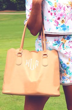 Best Seller Allert! This Monogrammed Scalloped Tote Purse is super easy to carry shopping or for a night out.